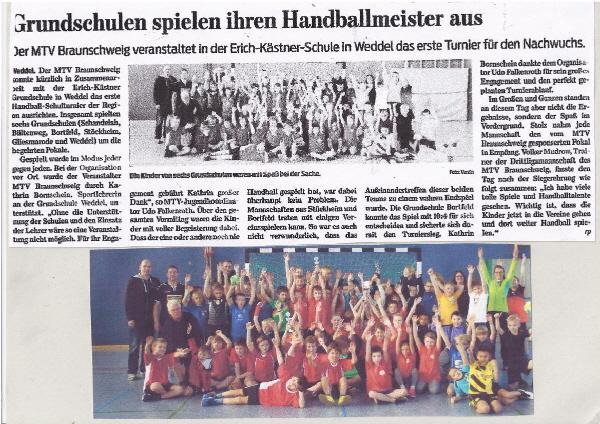 Grundschulen spielen ihren Hanballmeister aus